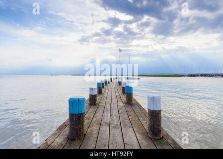 Wooden Jetty at Neusiedl, Lake Neusiedl, Burgenland, Austria - Stock Image