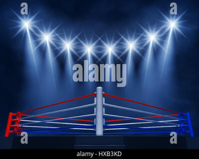 Boxing ring corner and floodlights , Boxing event  ,Boxing arena - Stock Image