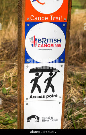 A sign post showing signs for European City of Sport 2016 (Stoke-on-Trent) and British Canoeing access point on - Stock Image