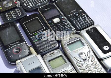 Group of old cell phones. - Stock Image