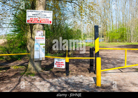 Elworth Angling Society information with private bailiff parking space sign Cheshire UK - Stock Image