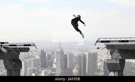 Business concept of businessman overcome the problems - Stock Image
