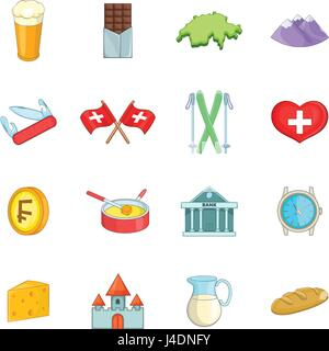 Switzerland travel icons set, cartoon style - Stock Image