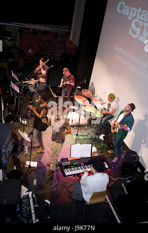 Captain Ska in a 2012 performance in London. Their protest song 'Liar, Liar' has attracted thousands of - Stock Image