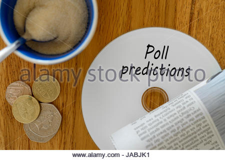 Poll Predictions Data Disc Left On Cafe Table Dorset England Stock