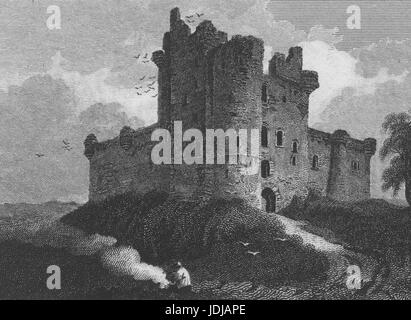 Engraving of the exterior of Doune Castle, a medieval stronghold, in Doune, Scotland, 1815. From the New York Public - Stock Image