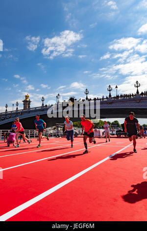 Paris, France. 24th Jun, 2017. People practising race track during the Paris Olympic Games 2024 showcase. Credit: - Stock Image