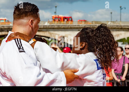 Paris, France. 24th Jun, 2017. Judo champion atheletes demonstrate during the Paris Olympic Games 2024 showcase. - Stock Image