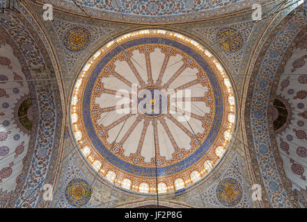 Decorated ceiling at Sultan Ahmed Mosque (Blue Mosque) showing the main big dome, Istanbul, Turkey - Stock Image