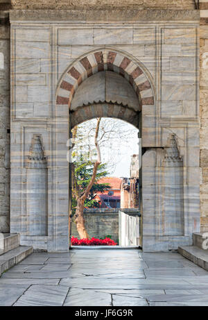 Opened door leading to the court of Blue Mosque (Sultan Ahmed Mosque), Istanbul, Turkey - Stock Image