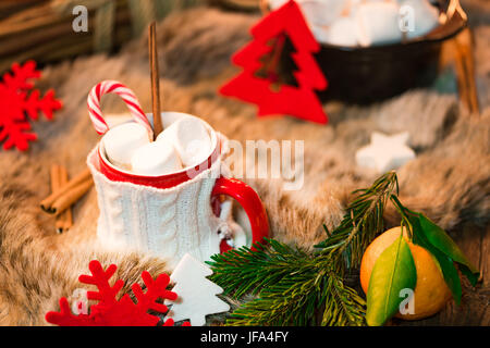 Hot chocolate with marshmallows - Stock Image