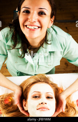 stock photo attractive lady getting spa treatment in salon, healthcare people concept close up - Stock Image