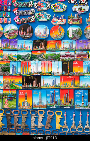 Close-up of souvenirs on sale in Shanghai, China - Stock Image