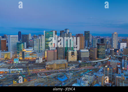 Japan, Osaka City, Umeda District skyline - Stock Image