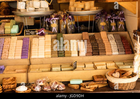 KORNELIMUENSTER, GERMANY, 18th June, 2017 - soap for sale on the historic fair of Kornelimuenster. - Stock Image