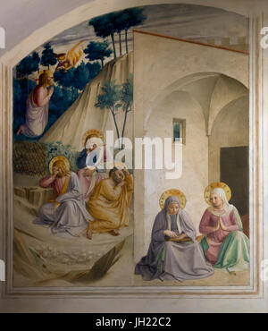 Christ on the Mount of Olives, Agony in the Garden of Gethsemane, with sleeping Apostles Peter James and John,  - Stock Image
