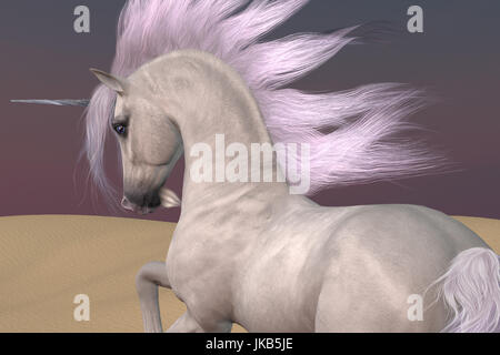A Unicorn is a creature of myth and fantasy and has cloven hooves, forehead horn and a beard. - Stock Image