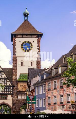 Schwabentor, gate tower, old city center, Freiburg, Baden-Wuerttemberg, Schwarzwald, black forest, Germany - Stock Image