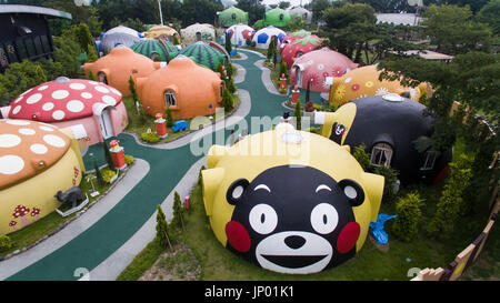 Kumamoto, Japan. 31st July, 2017. Aerial view of earthquake-resistant dome houses in Aso Farm Land, Kumamoto prefecture, - Stock Image