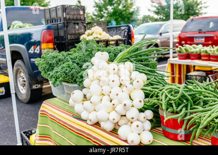 Fresh vegetables laid out on a table at a neighborhood farmers outdoor market in Montgomery, Alabama, USA. - Stock Image