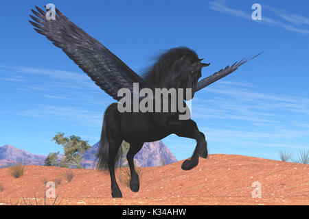 A mythical Pegasus with a beautiful black satin coat rises into the sky on powerful wing beats. - Stock Image