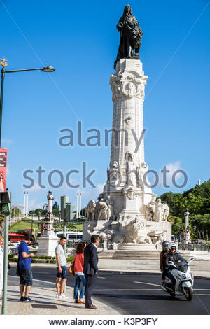 Lisbon Portugal Marquis of Pombal Square Marquess monument plaza roundabout rotunda monument statue street crossing - Stock Image