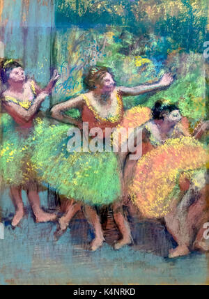 Dancers in Green and Yellow, by Edgar Degas, circa 1903, Solomon R. Guggenheim Museum, Manhattan, New York City, - Stock Image