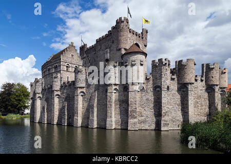 The Gravensteen - a medieval castle in the city of Ghent in Belgium. The present castle was built in 1180 by count - Stock Image