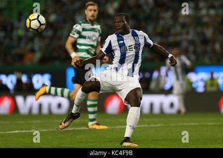 Lisbon, Portugal. 01st Oct, 2017. FC PortoÕs forward Vincent Aboubakar from Cameroon during Premier League - Stock Image