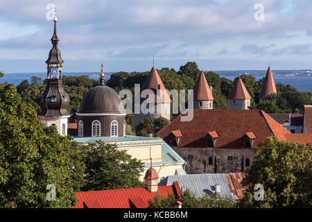 The city of Tallinn in Estonia. The Old Town is one of the best preserved medieval cities in Europe and is a UNESCO - Stock Image