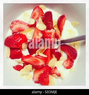 Healthy breakfast of natural yogurt, strawberries, flaked almonds and honey - Stock Image