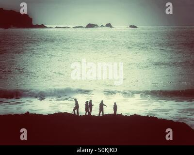 Five people silhouetted against an ocean with rolling waves. - Stock-Bilder