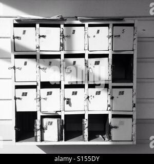 Old post boxes black and white - Stock-Bilder