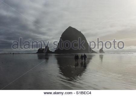 Beach walk below Haystack Rock, Cannon Beach, Oregon - Stock Image
