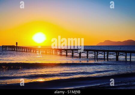 Sunrise at Muro Beach Islas Baleares Mallorca - Stock Image
