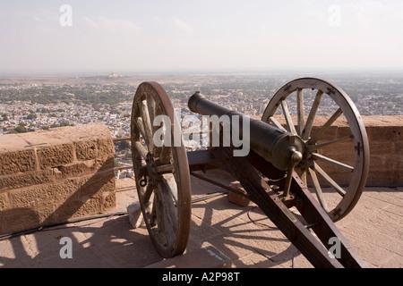 India Rajasthan Jodhpur elevated view from Fort Meherangarh - Stock Image