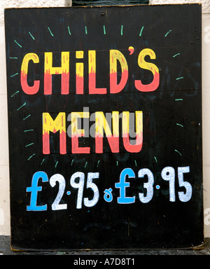 Pub Menu Sign For Child Meals England