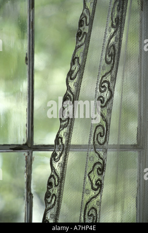 NA, USA, Montana, Nevada City Lace Curtains In Mining Ghost Town Abandoned  In