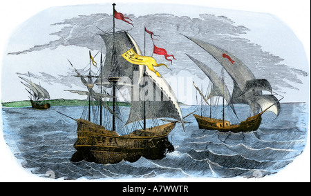 Spanish ships of hernando cortes sailing to mexico 1519 stock image