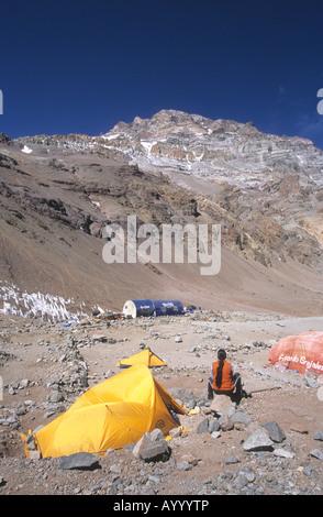 Plaza De Mulas Base Camp, West Face Of Mt Aconcagua In Background,  Argentina
