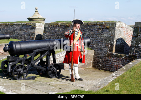 English Redcoats soldiers at British Army Fort George, a historical re-enacting event August, 2010 Inverness-shire, - Stock Image