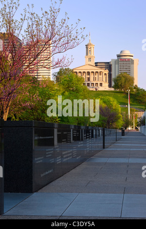 Granite Wall Traces 200 Years Of History Springtime In Bicentennial Park Below The Capitol Building