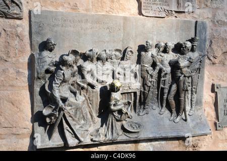 Great Bronze Wall Plaque Commemorating Ladies Of Mendoza Giving Food Valuables To  General San Martin, Cerro