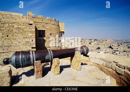 Cannon on top of Fort ; Jaisalmer ; Rajasthan ; India - Stock Image