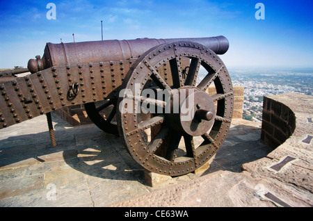 old indian cannon on top of Mehrangarh fort ; Jodhpur ; Rajasthan ; India - Stock Image