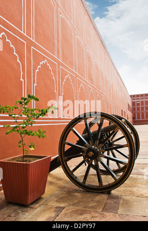 Cannon in a palace, City Palace, Jaipur, Rajasthan, India - Stock Image