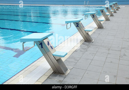 detail from open air olympic swimming pool starting places stock image