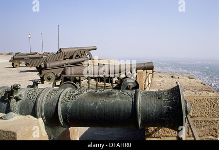 Cannons in Jodhpur fort, Rajasthan, India - Stock Image