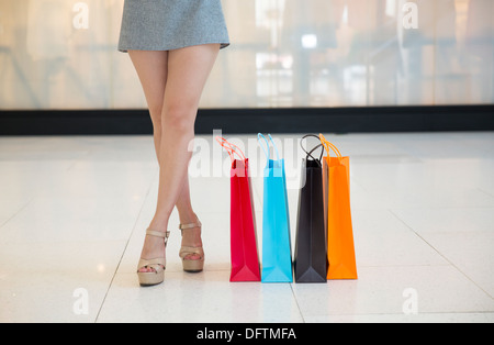 New Indian Woman Carrying Shopping Bags And Suitcase Stock Photo  Image