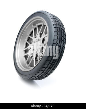 tire isolated on white background in motion effect clipping path stock image